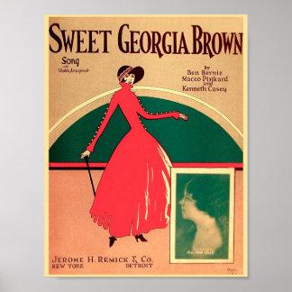 Poster Couverture vintage la Géorgie douce Brown 1925 de