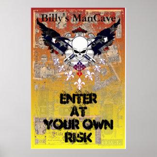 Poster Crâne à ailes par argent fané de guerre civile