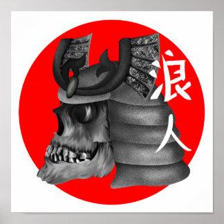 Poster Crâne samouraï de drapeau de Ronin Japon