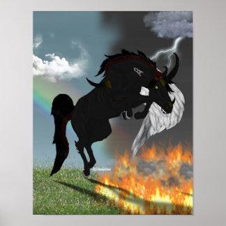 Poster Créature de cheval d'ange de démon d'imaginaire