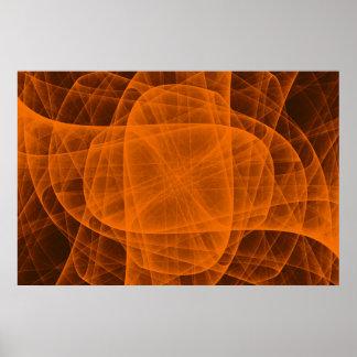Poster Croix arrondie éternelle abstraite dans l'orange