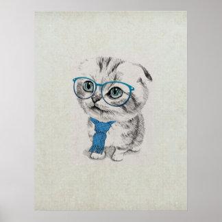 Poster Croquis à la mode drôle adorable mignon d'animal d