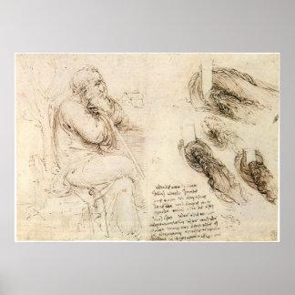 Poster Croquis de vieil homme et d'eau par Leonardo da