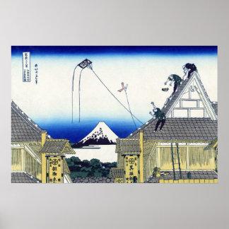 Poster Croquis vintage du magasin le mont Fuji de Mitsui