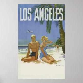 Poster Cru d'annonce de voyage de Los Angeles la