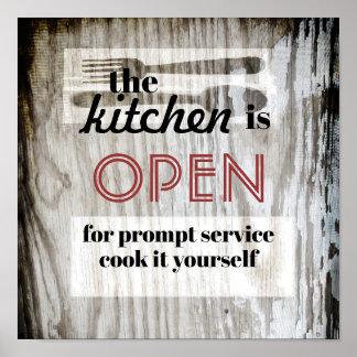 Poster cuisinier humoristique de citation d'affiche de