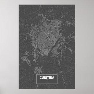 Poster Curitiba, Brésil (blanc sur le noir)