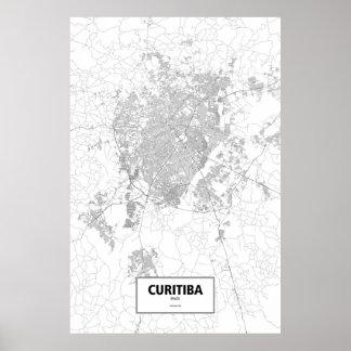 Poster Curitiba, Brésil (noir sur le blanc)