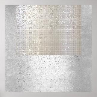 Poster Cyber binaire géométrique abstrait d'art moderne