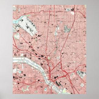 Poster Dallas le Texas Map (1995)