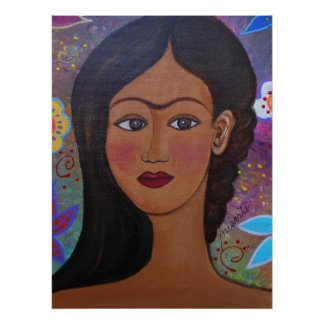 POSTER DAME MEXICAINE PORTRAIT PAINTING