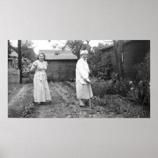 Poster Dames de jardinage de cru dans le monochrome de