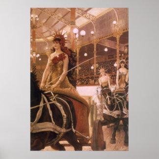 Poster Dames des voitures (cirque) par Tissot, art