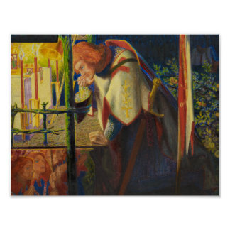 Poster Dante Gabriel Rossetti - monsieur Galahad au ruiné