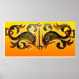 Poster Dauphins dans Mozaic
