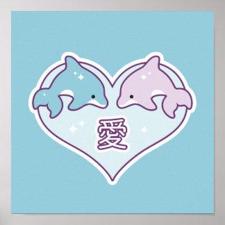 Poster Dauphins de bébé de Kawaii