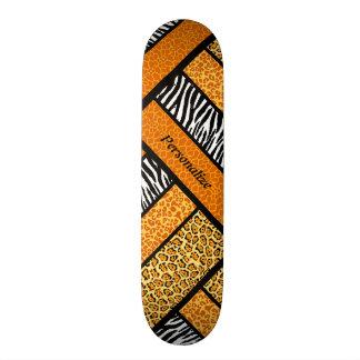 Poster de animal africain orange à la mode avec le skateboards