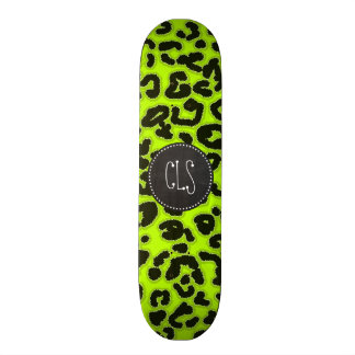 Poster de animal Chartreuse de léopard ; Regard de Skateboards Customisés