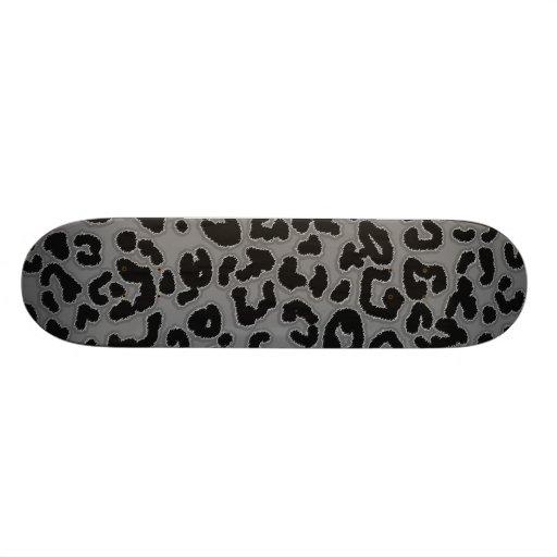 Poster de animal gris de léopard skateboards personnalisés