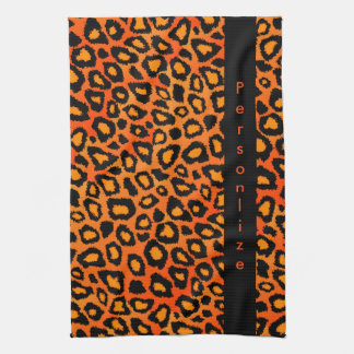 Poster de animal orange lumineux attrayant de linge de cuisine
