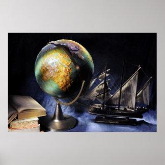 Poster De cru toujours la vie avec le globe
