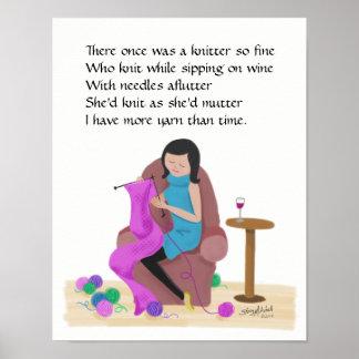 Poster ~ de Limerick de tricot plus de fil que le temps