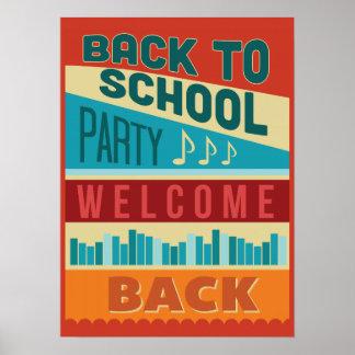 Poster De nouveau typographie de partie d'école à la