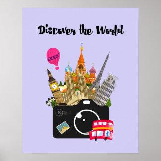Poster Découvrez les points de repère européens du monde