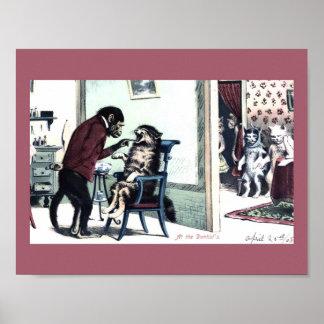 Poster Dentiste vintage drôle de singe d'impression avec