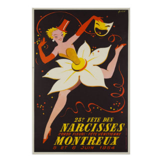Poster DES Narcisses, Montreux, affiche vintage de la