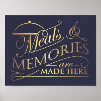 Poster Des repas et les souvenirs sont faits ici citent