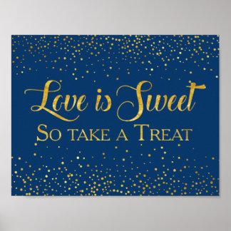 Poster Dessert de mariage de confettis de scintillement