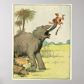Poster Dessin de livre d'histoire d'éléphant