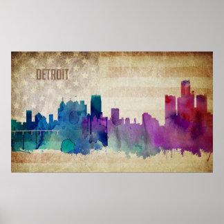 Poster Detroit, horizon de ville d'aquarelle de MI |