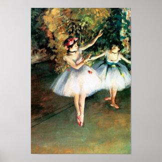 Poster Deux danseurs sur une étape dégazent par