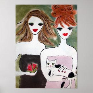 Poster Deux filles avec un chat