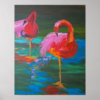 Poster Deux flamants roses sur le lac vert (art de K.Turn