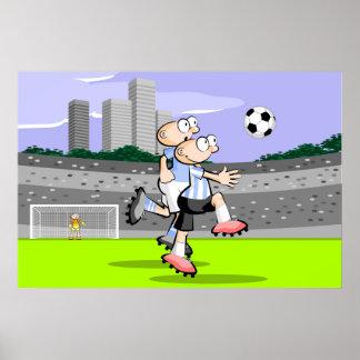Poster Deux joueurs de Football Soccer