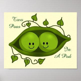 Poster Deux pois adorables dans une cosse