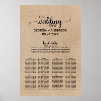 Poster Diagramme noir d'allocation des places de mariage