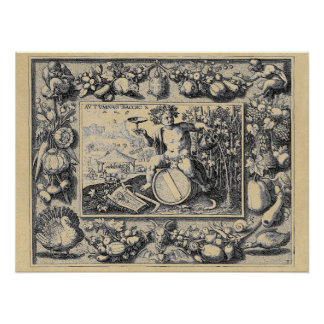 Poster Dieu de Bacchus de vin