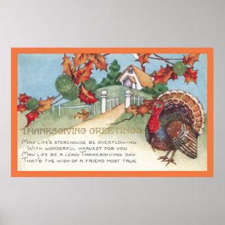 Poster dinde vintage du thanksgiving 1927 et affiche de