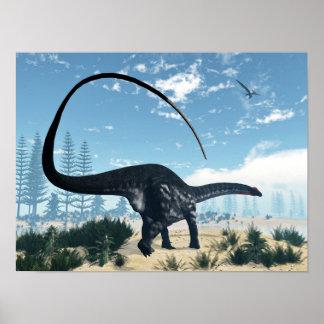 Poster Dinosaure d'Apatosaurus dans le désert - 3D