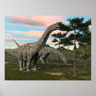 Poster Dinosaure d'Argentinosaurus mangeant l'arbre - 3D