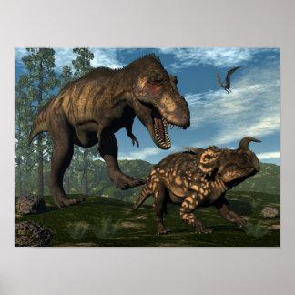 Poster Dinosaure de attaque d'einiosaurus de rex de