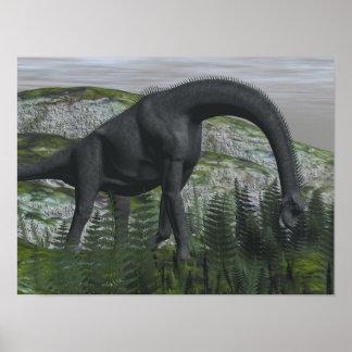 Poster Dinosaure de Brachiosaurus mangeant la fougère -
