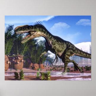 Poster Dinosaure de Monolophosaurus - 3D rendent