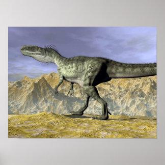 Poster Dinosaure de Monolophosaurus dans le désert - 3D