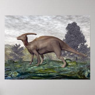 Poster Dinosaure de Parasaurolophus parmi des arbres de