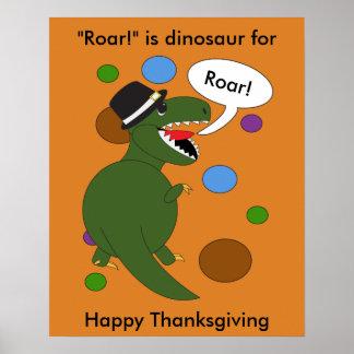 Poster Dinosaure de Rex de Tyrannosaurus de thanksgiving